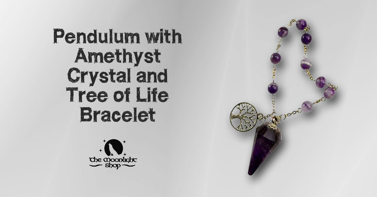 Pendulum with Amethyst Crystal and Tree of Life Bracelet